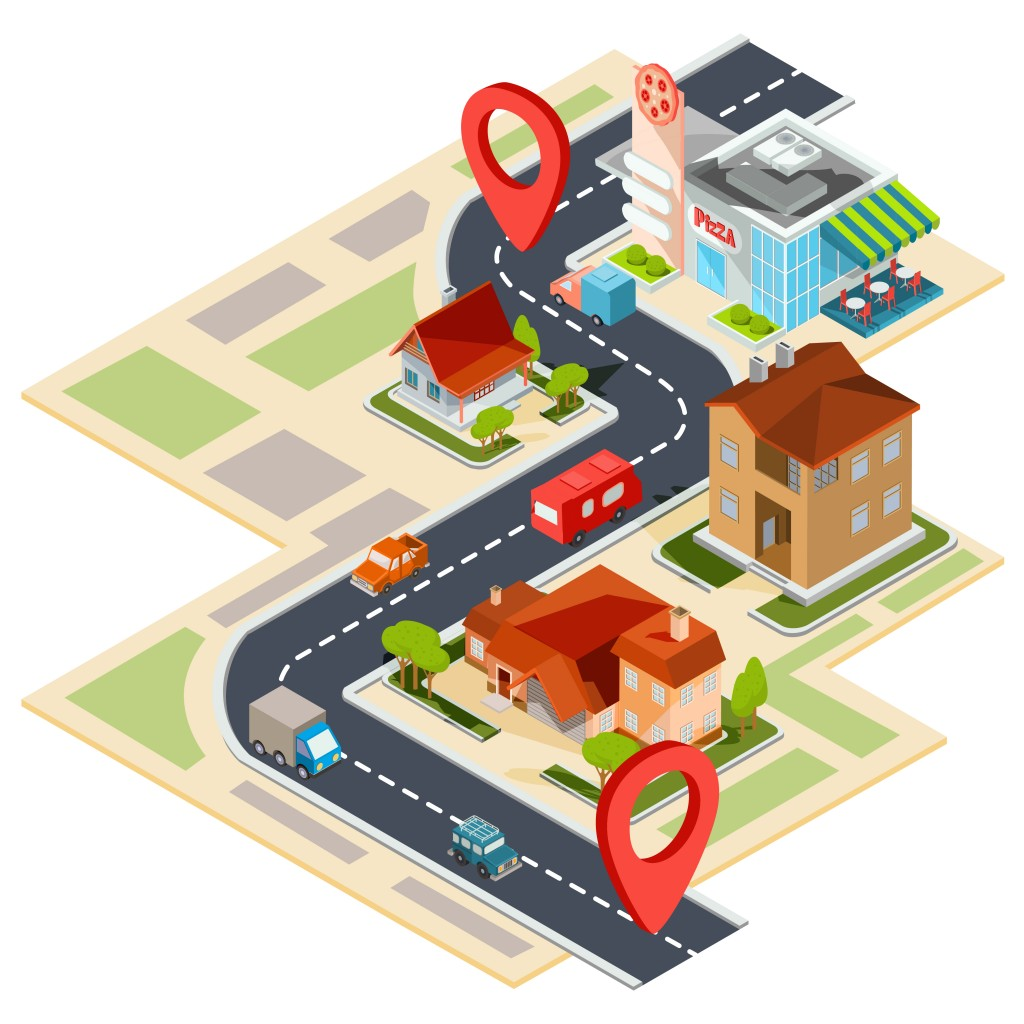 Vector illustration of the navigation map with gps icons